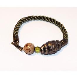 Khaki Rope Bracelet Mookaite Bead