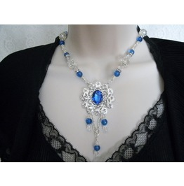 Royal Blue Necklace, Retro Renaissance Goth Steampunk Victorian