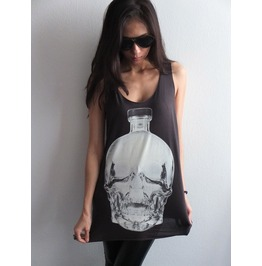 Dont Drink Dead Skull Alcohol Bottle Rock Tank Top