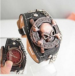 Pirate Skull Pop Open Faux Leather Wristwatch