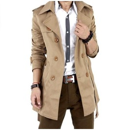 Mens Brown/Black Double Breasted Trench Jacket