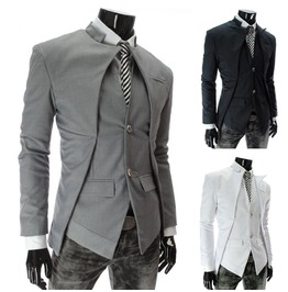 Mens Black/Gray/White Slim Fit Blazer Jacket