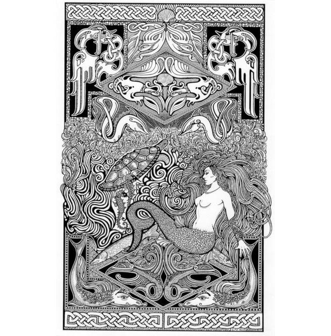 Celtic Mermaid Letterpress Art Print Poster Detailed