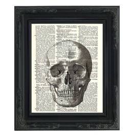 "Anatomical Human Skull Printed Upcycled Vintage Dictionary Paper 8""X11"""