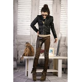 Patchwork zipper skinny leg steampunk pants leggings