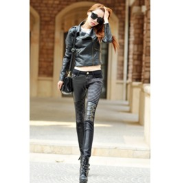 Patchwork Zipper Knee Skinny Leg Steampunk Pants V2