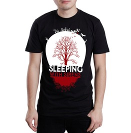 Sleeping Sirens Tree Crew Neck Short Sleeve Mens Black Cotton T Shirt
