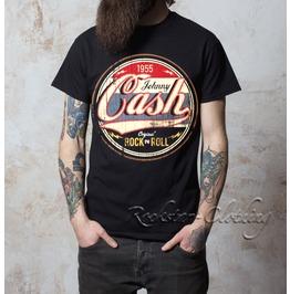 Johnny Cash Original Rock N Roll 1955s Crew Neck Mens Black T Shirt