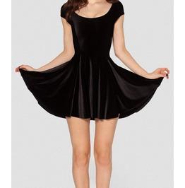 Womens Black/Blue/Red Sleeveless Velvet Summer Minidress
