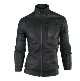 Mens Black/Brown Pu Leather Jacket