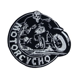 "Patch Iron ""Motorcycho"" Biker Rocker Mc 8cm/9cm 3.15 Inch/3.54 Inch"