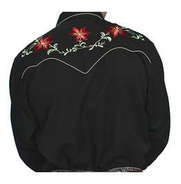 Scully Western Black Green Red Floral Embroidery Pearl Snap Cowboy Shirt