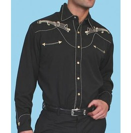 Scully Western Black Beige Music Note Embroidery Pearl Snap Cowboy Shirt