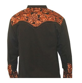 Scully Western Black Copper Floral Embroidery Pearl Snap Cowboy Shirt
