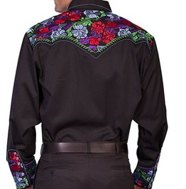Scully Western Black Red Purple Floral Embroidery Pearl Snap Cowboy Shirt