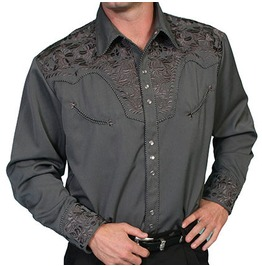 Scully Western Grey Grey Embroidered Pearl Snap Cowboy Shirt