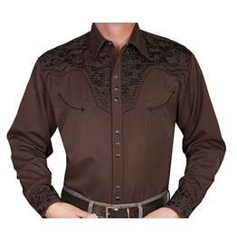 Scully Western Black Embroidery Brown Pearl Snap Cowboy Shirt