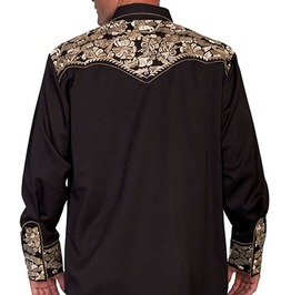 Scully Western Gold Embroidery Black Cowboy Pearl Snap Shirt