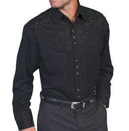 Scully Western Black Embroidery Black Cowboy Pearl Snap Shirt