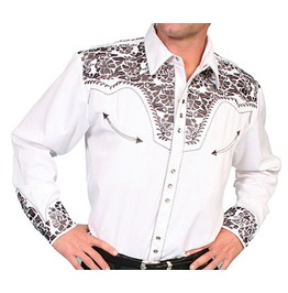 Scully Western Pewter Floral Embroidery White Cowboy Pearl Snap Shirt
