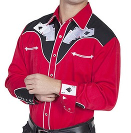 Scully Western Card Poker Embroidery Red Cowboy Pearl Snap Shirt