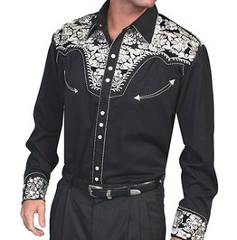 Scully Western Silver Embroidery Black Cowboy Pearl Snap Shirt