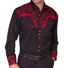 Scully Western Crimson Floral Embroidery Black Cowboy Pearl Snap Shirt