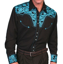 Scully Western Turquoise Floral Embroidery Black Cowboy Pearl Snap Shirt