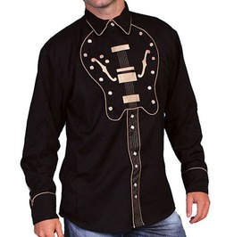 Scully Western Beige Guitar Embroidery Black Cowboy Pearl Snap Shirt