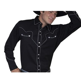 Scully Western White Stitch Embroidery Black Cowboy Pearl Snap Shirt