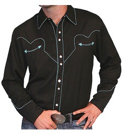 Scully Western Turquoise Stitch Embroidery Black Cowboy Pearl Snap Shirt