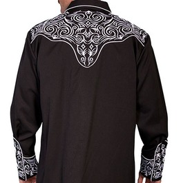 Scully Western Sharp White Embroidery Black Cowboy Pearl Snap Shirt