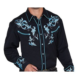 Scully Western Teal Floral Embroidery Black Cowboy Pearl Snap Shirt
