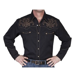 Scully Western Brown Bootstitch Embroidery Black Cowboy Pearl Snap Shirt