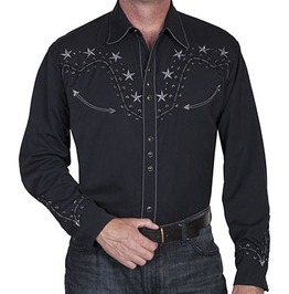Scully Western Star Stitch Embroidery Black Cowboy Pearl Snap Shirt