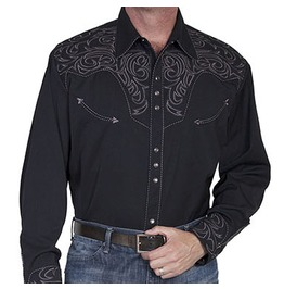 Scully Western Grey Sharp Embroidery Black Cowboy Pearl Snap Shirt
