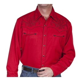 Scully Western Black Bootstitch Embroidery Red Cowboy Pearl Snap Shirt