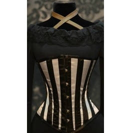 Steel Boned Silver Striped Underbust Corset $9 Worldwide Shipping