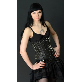 Steel Boned Spiked Black Vegan Leather Fetish Underbust Corset