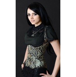 Steel Boned Gold Brocade Clasp Shoulder Full Back Lace Up Corset $9 To Ship
