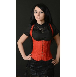 Steel Boned Red Brocade Shoulder Full Back Clasp Victorian Gothic Corset