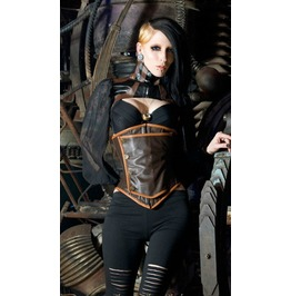 Steel Boned Leather Steampunk Uniform Underbust Corset $9 To Ship Anywhere