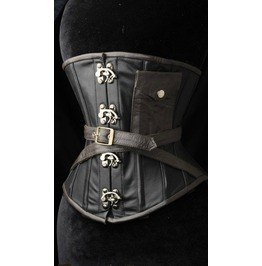 Steel Boned Faux Leather Steampunk Pocket Clasp Underbust Corset $9 To Ship