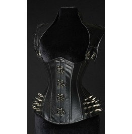 Steel Boned Faux Leather Apocalyptic Clasp Spike Corset $9 To Ship