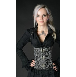 Steel Boned Silver Jacquard Shoulder Clasp Corset Only $9 To Ship