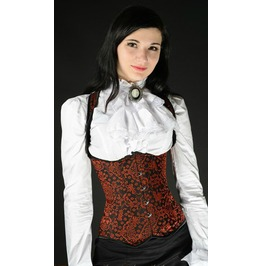 Steel Boned Red Jacquard Shoulder Corset $9 To Ship