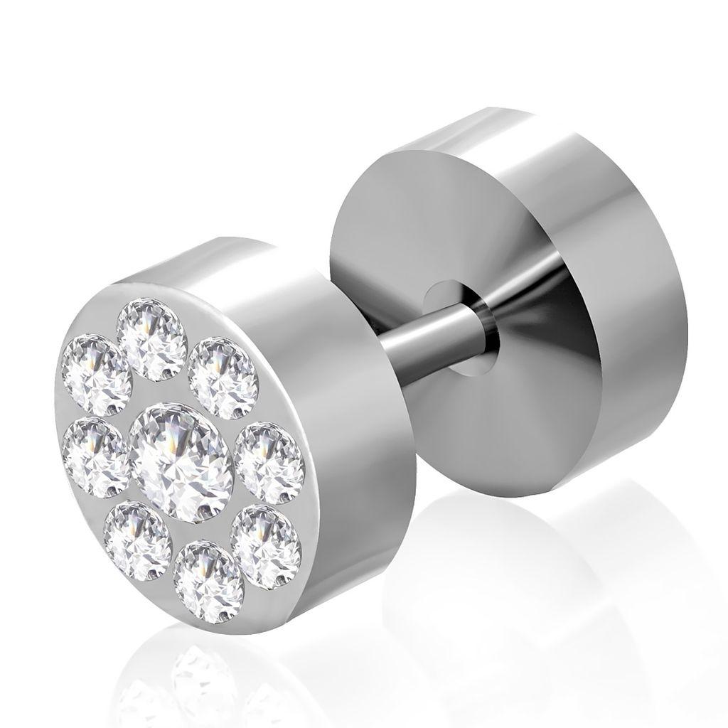 Stainless steel faux ear plug clear cz pair qpc