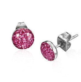 7mm Stainless Steel Faux Pink Druzy Crystal Circle Stud Earrings Pair Leb26