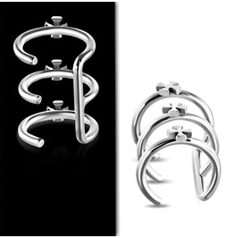 Stainless Steel Cross Triple Hoop Cartilage Ear Cuff Wrap Clip
