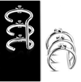 Stainless Steel Cross Triple Hoop Cartilage Ear Cuff Wrap Clip
